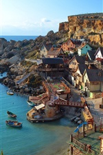 Preview iPhone wallpaper Sea, villages, houses, cliffs, boats, blue sky