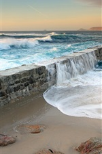 Preview iPhone wallpaper Sea water swept over the dams, coastal scenery