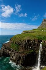 Preview iPhone wallpaper The Kingdom of Denmark, the Faroe Islands, village, mountains, waterfalls, sky, sea, blue