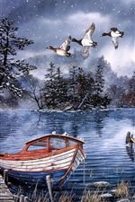 Watercolor painting, lake and woods, snow winter, dock, ducks, boat