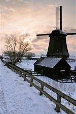 Preview iPhone wallpaper Winter snow, road, windmill, sunset
