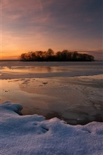 Preview iPhone wallpaper Winter snow, sunset, lake