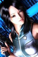 Preview iPhone wallpaper 3D asian girl, black hair, hold a gun