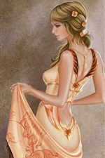 Preview iPhone wallpaper Art paintings, blonde girl, beautiful dress