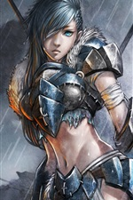 Preview iPhone wallpaper Art paintings, female soldier in the rain, fantasy girl