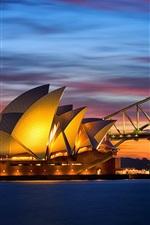 Australia, Sydney Opera House, bridge evening lights