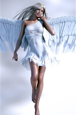 Preview iPhone wallpaper Beautiful angel girl, white clothes and wings