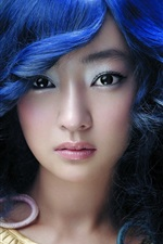 Preview iPhone wallpaper Beautiful blue-haired Asian girl