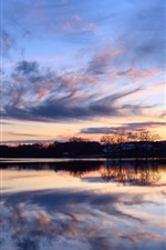 Preview iPhone wallpaper Beautiful sunset, calm lake, reflection in the water, shore trees, sky clouds