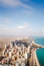 Preview iPhone wallpaper Chicago, USA, Illinois, ocean, coastline, horizon, sky, clouds, skyscrapers, roads