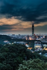 Preview iPhone wallpaper China Taiwan, Taipei city at night dusk, buildings, lights