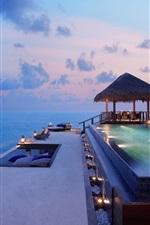 Coast, hotel, pool, lights, sunset