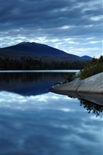 Preview iPhone wallpaper Dark blue sky clouds, lake water, reflection, forest, mountains, morning scenery