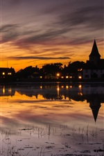 Preview iPhone wallpaper England, town scenery, house, lights, sunset, lake water reflection