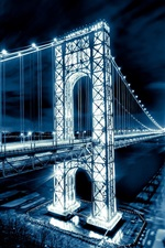 Preview iPhone wallpaper George Washington Bridge, New Jersey, Manhattan, Hudson River, New York City, USA, night lights