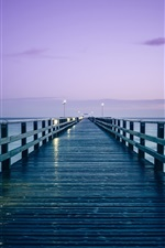 Preview iPhone wallpaper Germany, Baltic sea, pier, sunrise, morning, lights