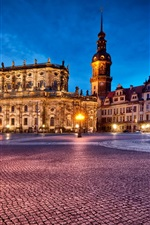 Germany, Dresden, Theatre Square, night lights