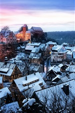 Preview iPhone wallpaper Germany, Saxony, Honshtayn, castle, houses, winter snow, forest, trees, sunset