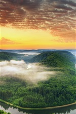 Preview iPhone wallpaper Germany scenery, Saarland, the river bend, mountains, sunset, orange sky, clouds