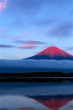 Preview iPhone wallpaper Japan, Fuji mountain, evening, sky, lake, reflection, blue
