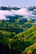 Preview iPhone wallpaper Japan Honshu Ishikawa, spring morning, beautiful nature landscape, mist, mountains