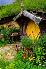 Preview iPhone wallpaper Lord of the Rings, Hobbit house, hill, flowers, grass