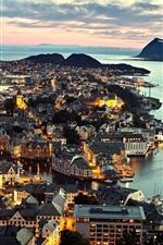 Norway Alesund city, night view, lights, sea, houses