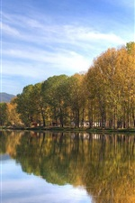 Preview iPhone wallpaper Park autumn lakes, quiet environment, trees, mountains, water reflection