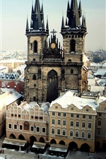 Preview iPhone wallpaper Prague, Czech Republic, city, Old Town Square, winter snow