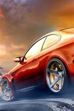 Red BMW M3 sport car in the race