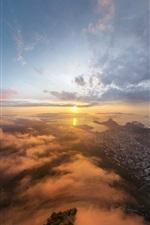 Rio de Janeiro, city early morning landscape, sun, sunrise
