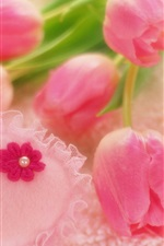 Preview iPhone wallpaper Romantic style, pink tulips, heart-shaped decorations