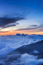 Preview iPhone wallpaper Taiwan, National Park, mountains, trees, mist, clouds, sky, evening, sunset