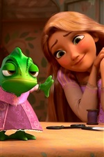 Preview iPhone wallpaper Tangled, Rapunzel with frog