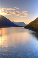 Preview iPhone wallpaper The beauty of autumn, the mountains, the sun, lake, trees