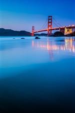 USA, California, San Francisco, Golden Gate Bridge, sunset, blue, ocean