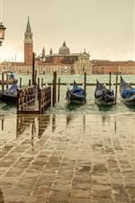 Preview iPhone wallpaper Venice, Italy, San Giorgio Maggiore, pier, boats, sea, house
