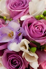 Preview iPhone wallpaper Violet flowers, roses, bouquet