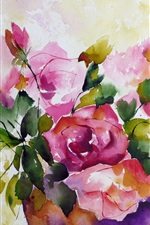 미리보기 iPhone 배경 화면 꽃의 수채화 그림