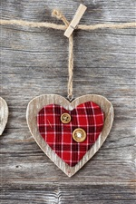 Preview iPhone wallpaper Art, hearts, wood, fabric and buttons, clothespins and rope