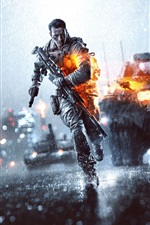 Preview iPhone wallpaper Battlefield 4, the rainy day night city