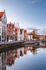 미리보기 iPhone 배경 화면 브뤼셀, 벨기에, 아름다운 가을의 풍경, 주택, 물, 강, 다리, 나무