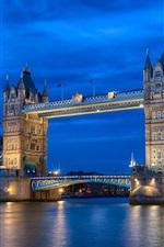 England London, city night river, Thames, Tower Bridge, blue sky, lights