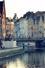 Preview iPhone wallpaper Ghent, Belgium, city houses, buildings, river water, reflection, bridge