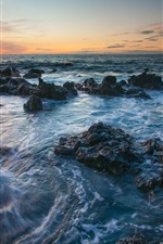 Hawaii scenery, sea, rocks, sunset
