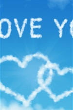 Preview iPhone wallpaper I Love You, Heart-shaped clouds in the blue sky