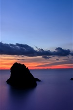 Preview iPhone wallpaper Japan, Shizuoka Prefecture, rocks island, sea, evening sunset, blue sky and clouds