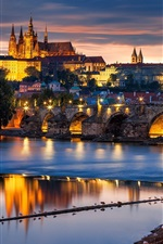 Preview iPhone wallpaper Prague, Czech Republic, city at evening, bridge, river Vltava