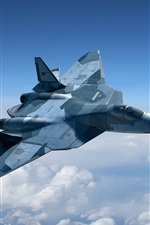 Preview iPhone wallpaper Russia's fifth-generation multirole fighter in the sky