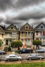 Preview iPhone wallpaper San Francisco, Victorian, houses, car, cloudy sky